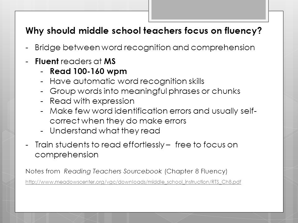 Why should middle school teachers focus on fluency