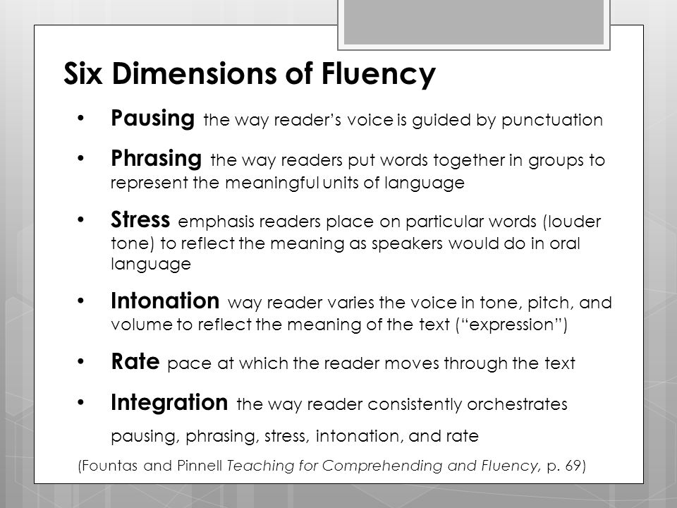 Six Dimensions of Fluency