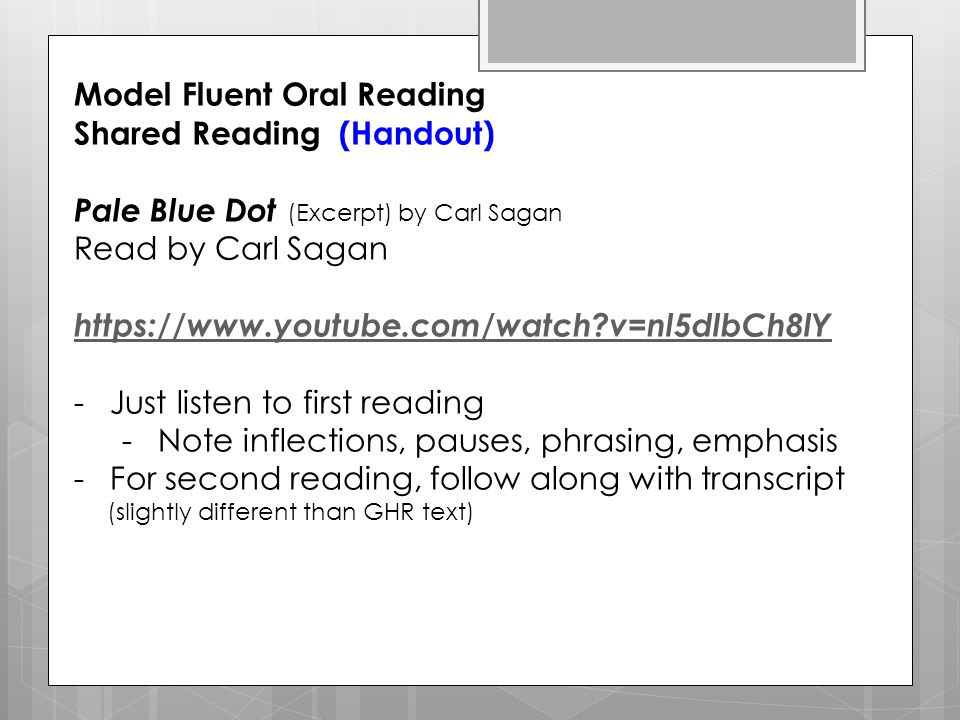 Model Fluent Oral Reading Shared Reading (Handout)
