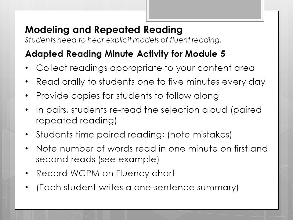 Modeling and Repeated Reading
