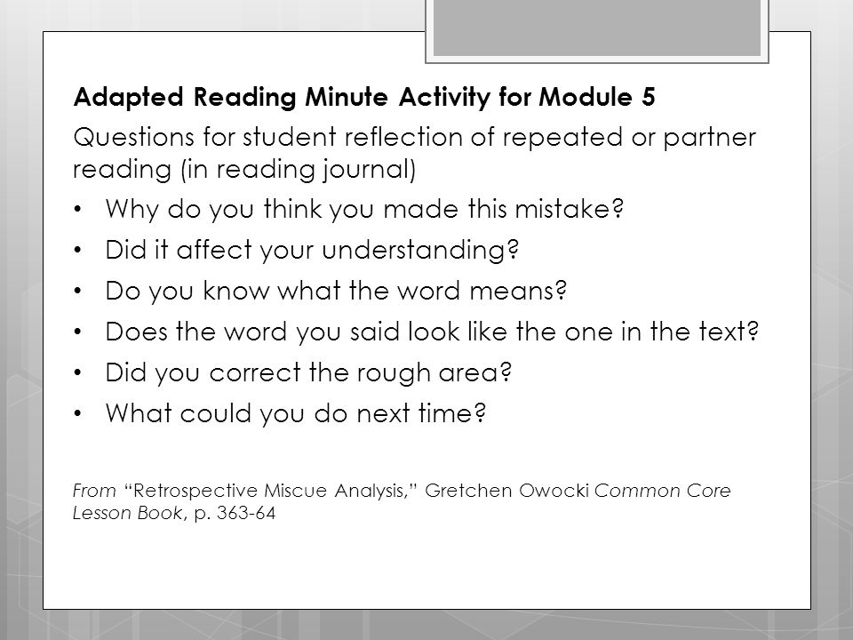 Adapted Reading Minute Activity for Module 5