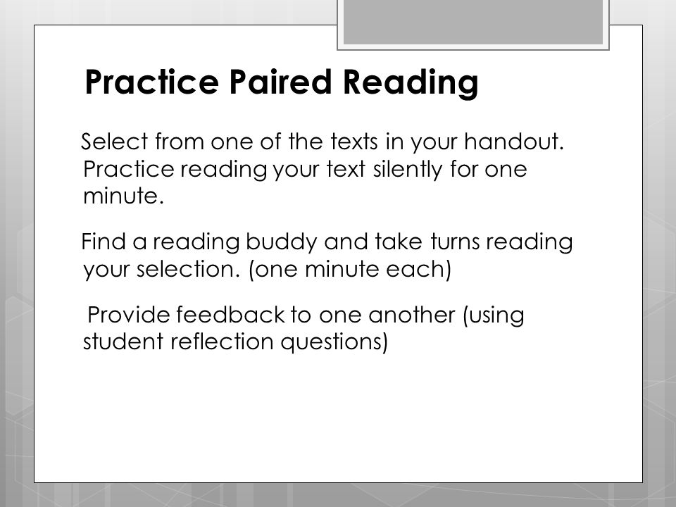 Practice Paired Reading