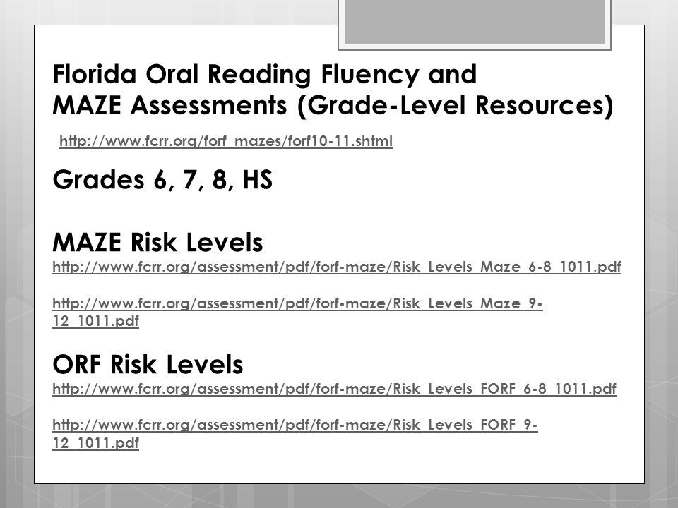 Florida Oral Reading Fluency and MAZE Assessments (Grade-Level Resources)