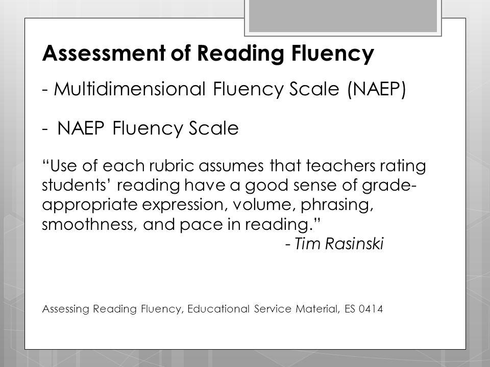Assessment of Reading Fluency