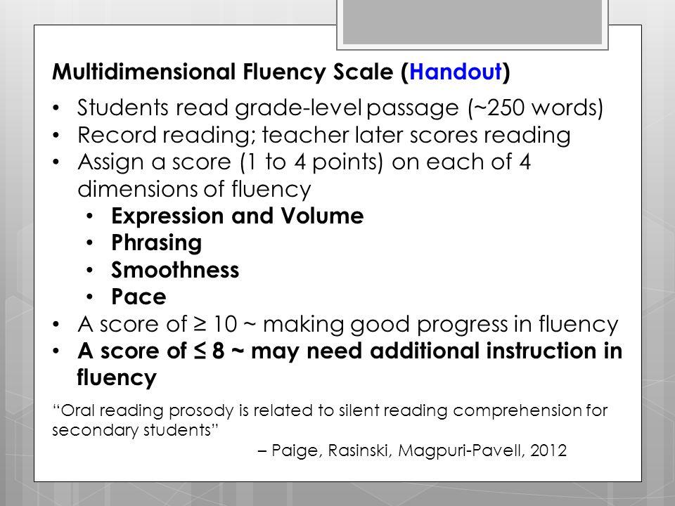 Multidimensional Fluency Scale (Handout)