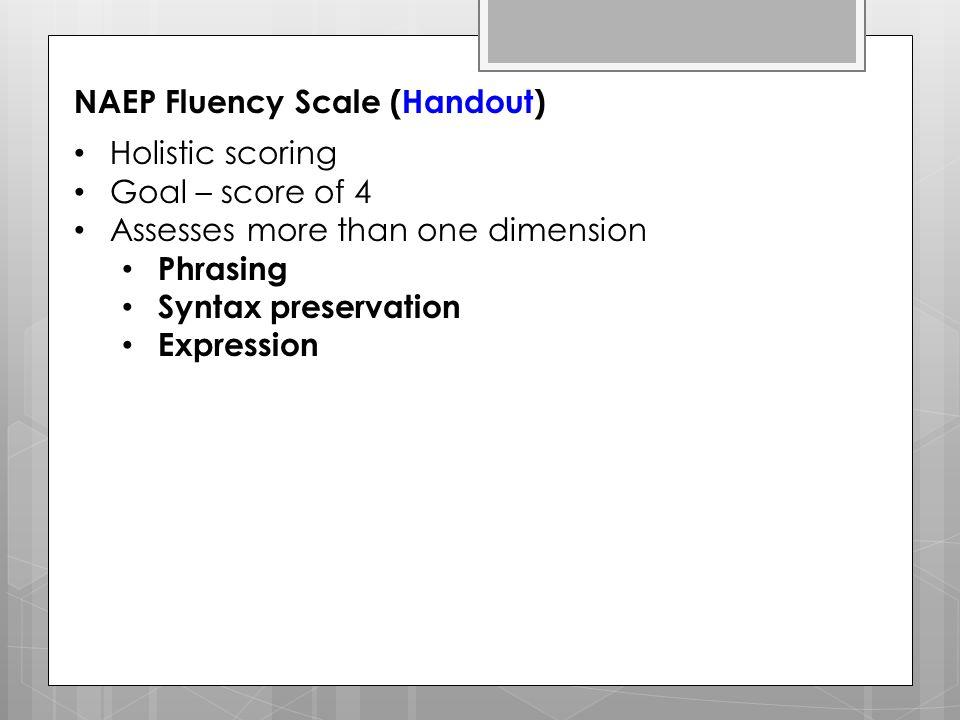NAEP Fluency Scale (Handout)