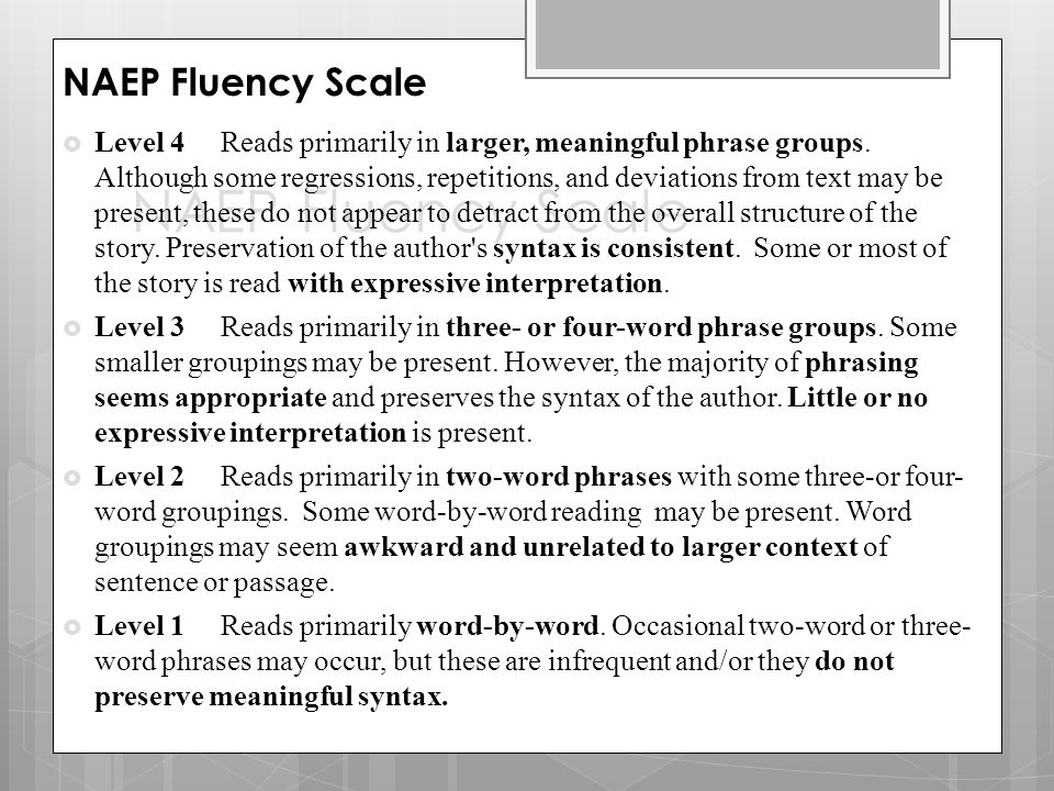 NAEP Fluency Scale NAEP Fluency Scale