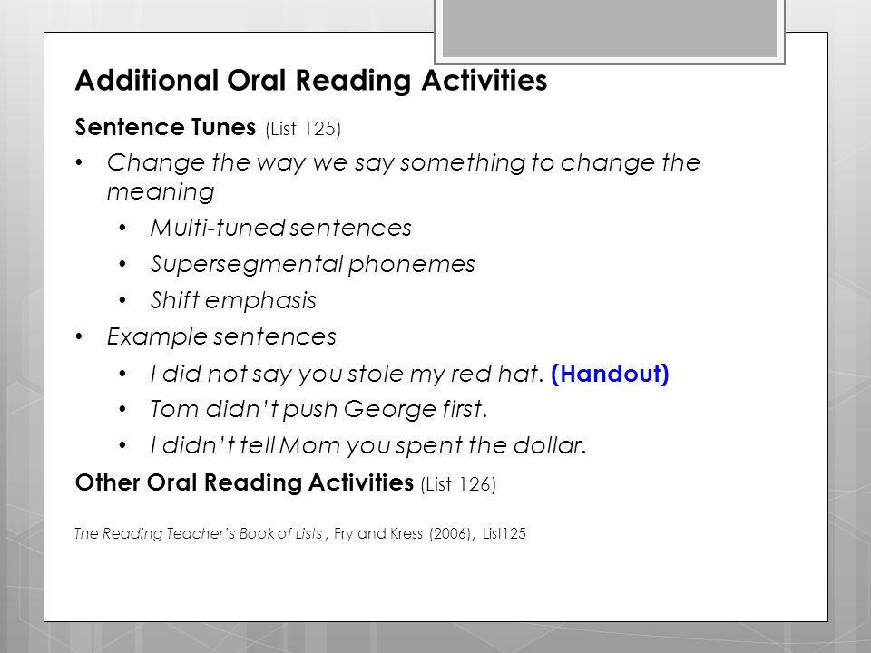 Additional Oral Reading Activities