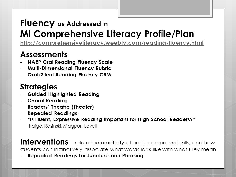 Fluency as Addressed in MI Comprehensive Literacy Profile/Plan