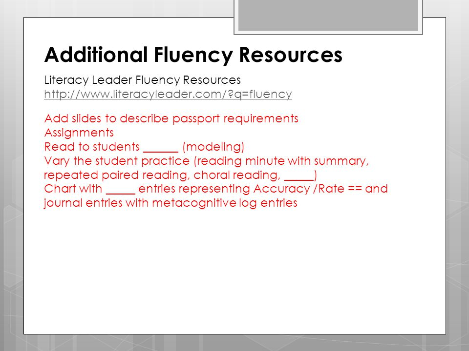 Additional Fluency Resources
