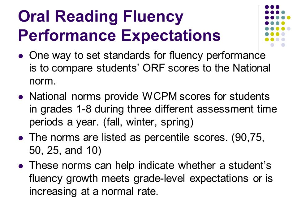 Oral Reading Fluency Performance Expectations