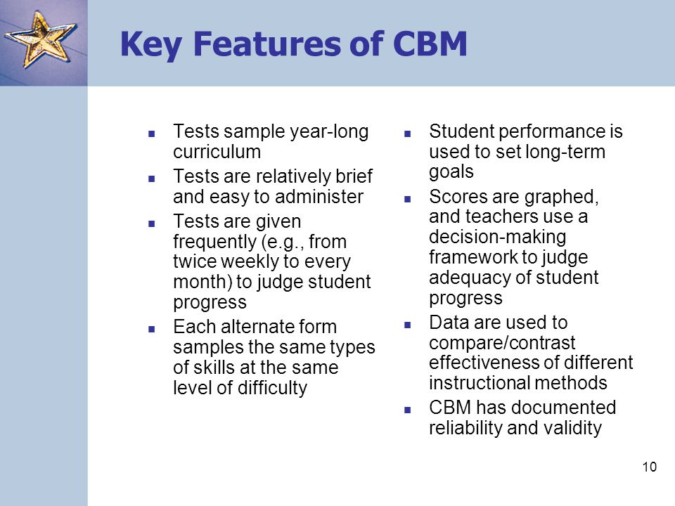 Key Features of CBM Tests sample year-long curriculum
