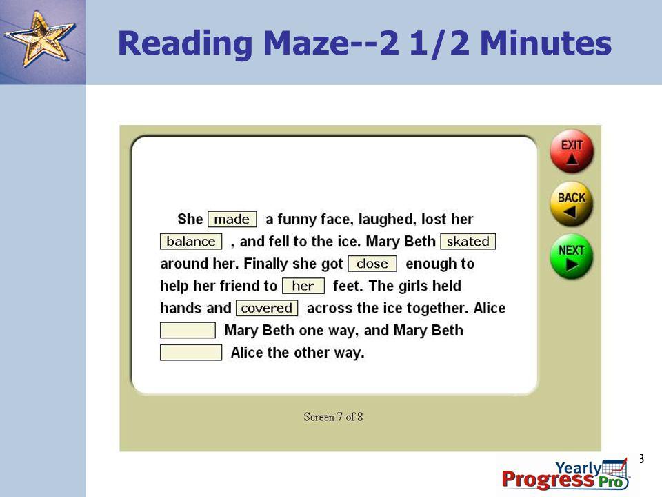 Reading Maze--2 1/2 Minutes