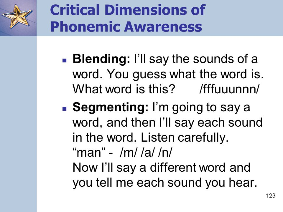 Critical Dimensions of Phonemic Awareness