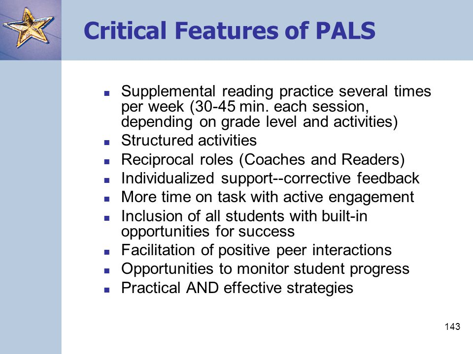 Critical Features of PALS