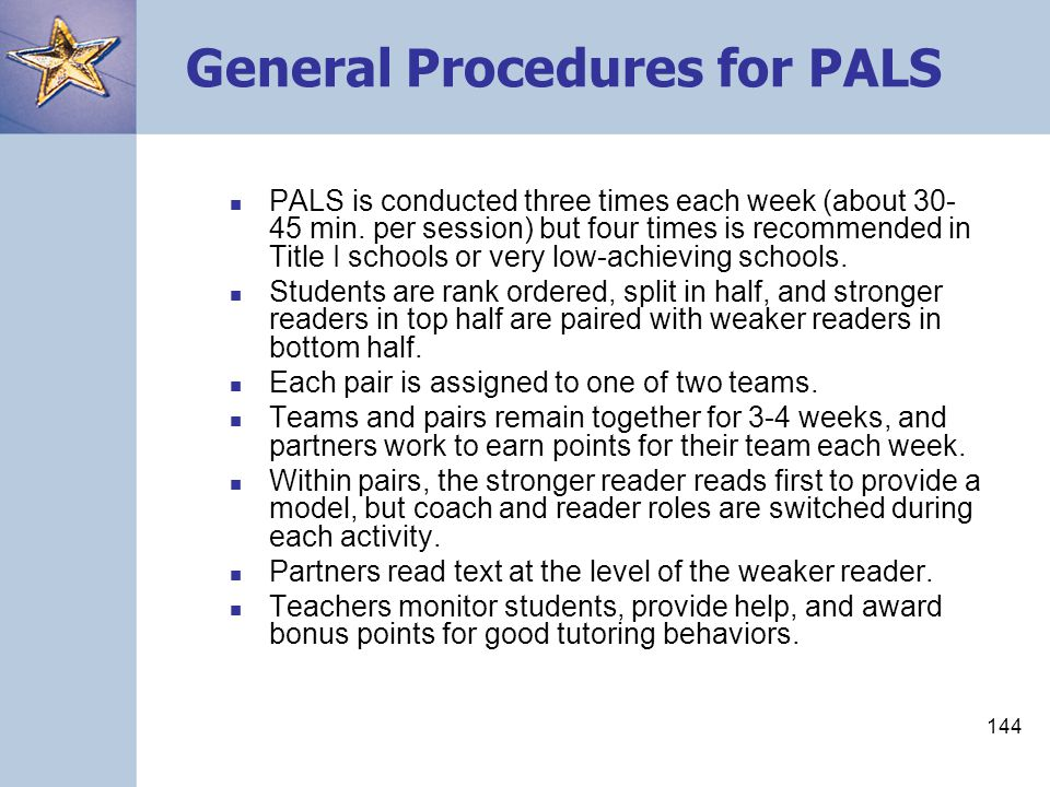General Procedures for PALS