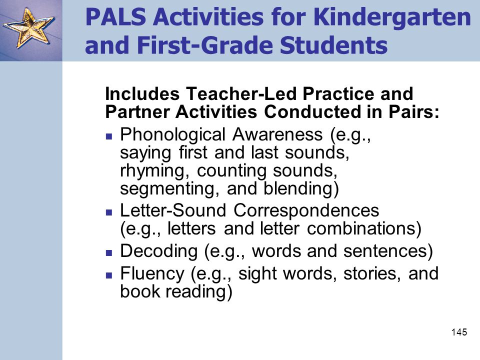 PALS Activities for Kindergarten and First-Grade Students