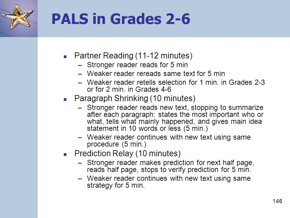 PALS in Grades 2-6 Partner Reading (11-12 minutes)