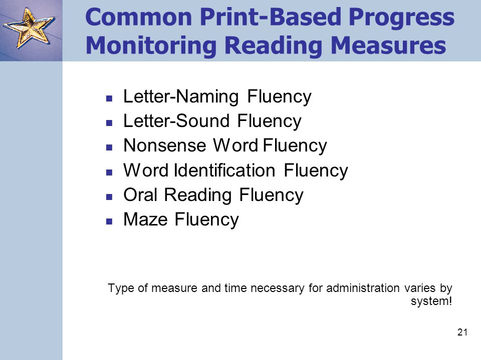 Common Print-Based Progress Monitoring Reading Measures