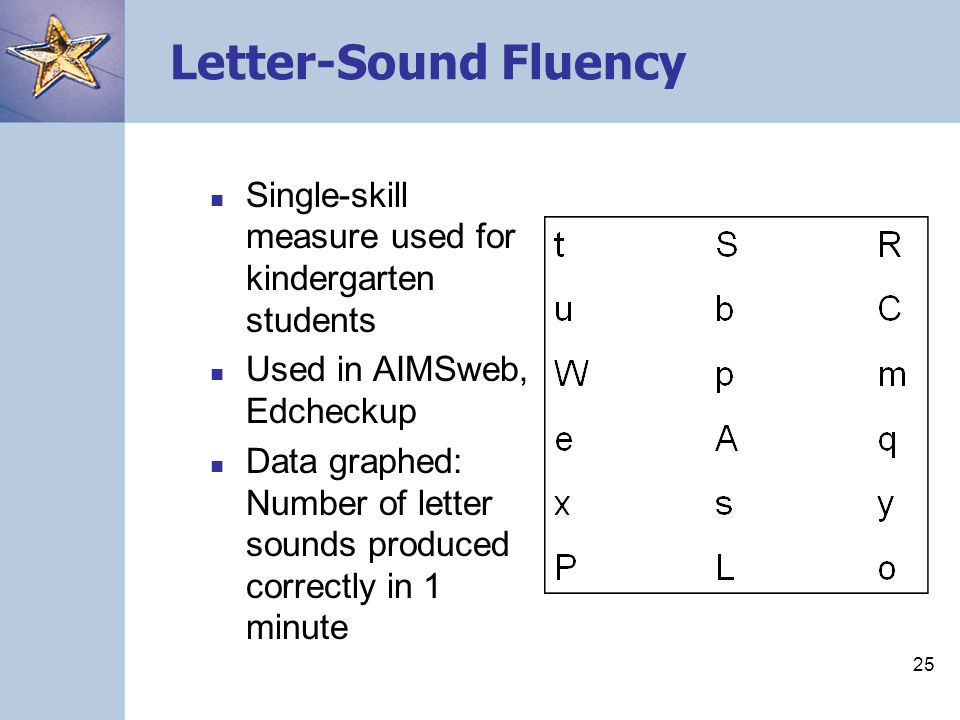 Letter-Sound Fluency Single-skill measure used for kindergarten students. Used in AIMSweb, Edcheckup.