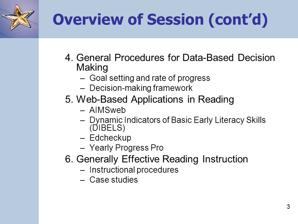 Overview of Session (cont'd)