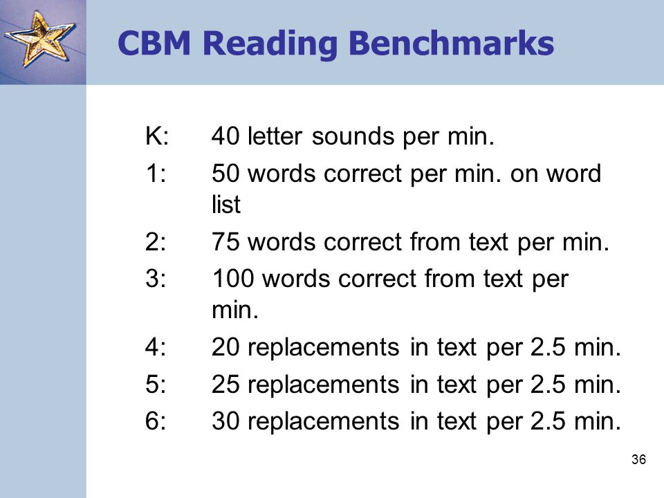 CBM Reading Benchmarks