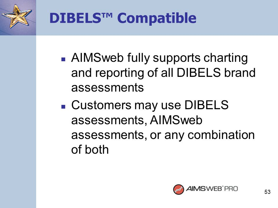 DIBELS™ Compatible AIMSweb fully supports charting and reporting of all DIBELS brand assessments.