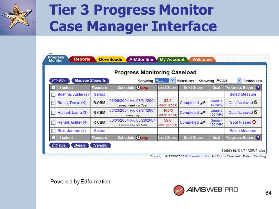Tier 3 Progress Monitor Case Manager Interface