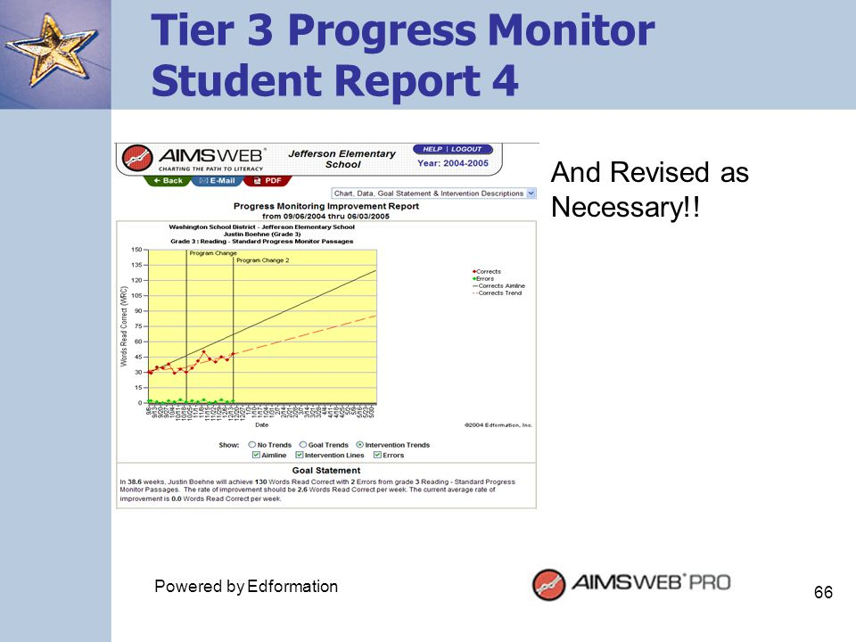 Tier 3 Progress Monitor Student Report 4