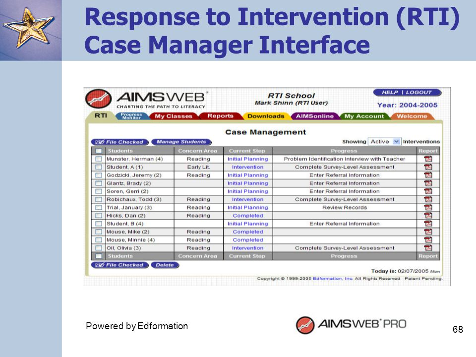 Response to Intervention (RTI) Case Manager Interface