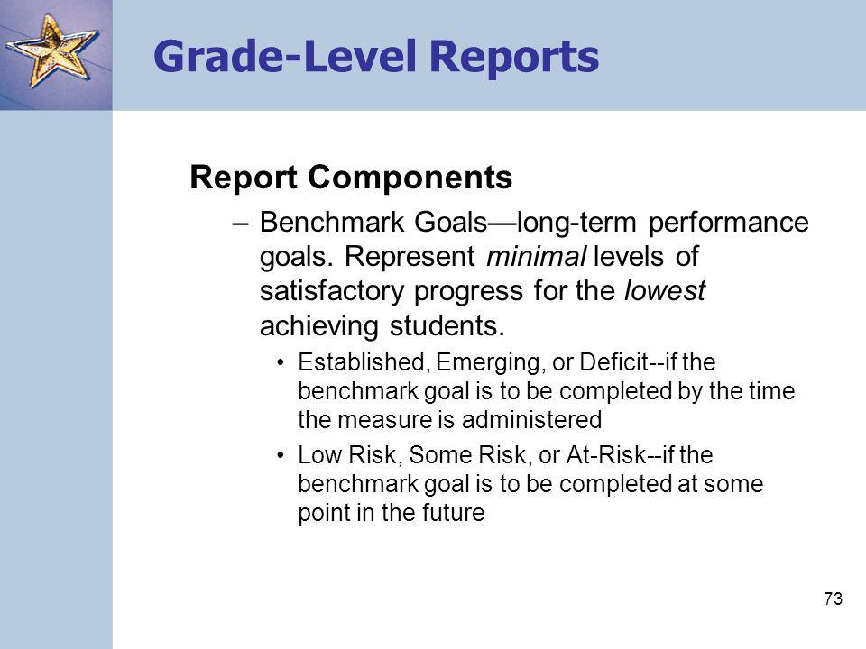 Grade-Level Reports Report Components