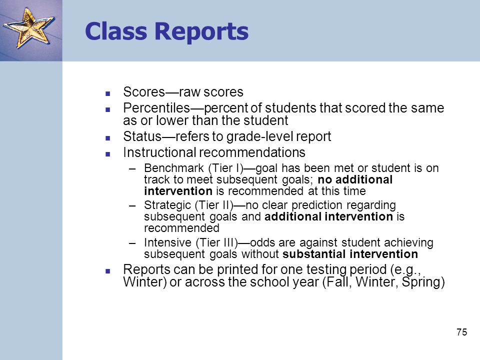 Class Reports Scores—raw scores