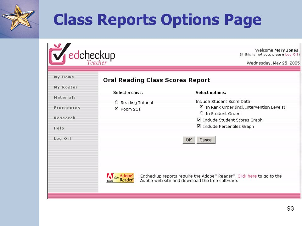 Class Reports Options Page