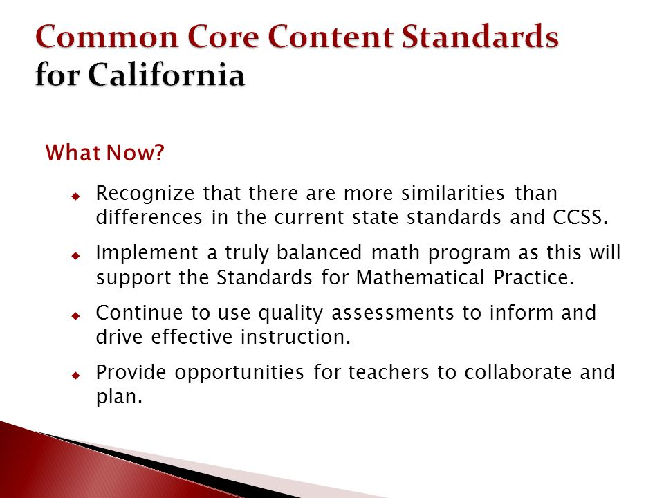 Common Core Content Standards for California