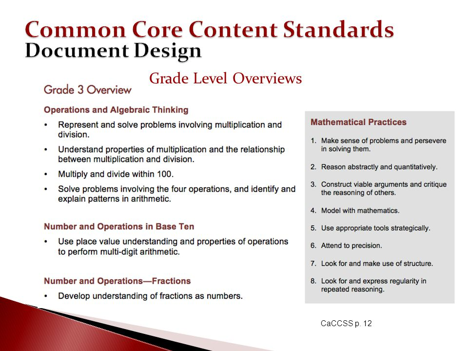 Common Core Content Standards Document Design