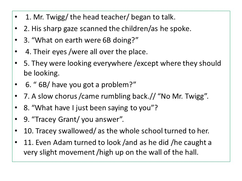 1. Mr. Twigg/ the head teacher/ began to talk.