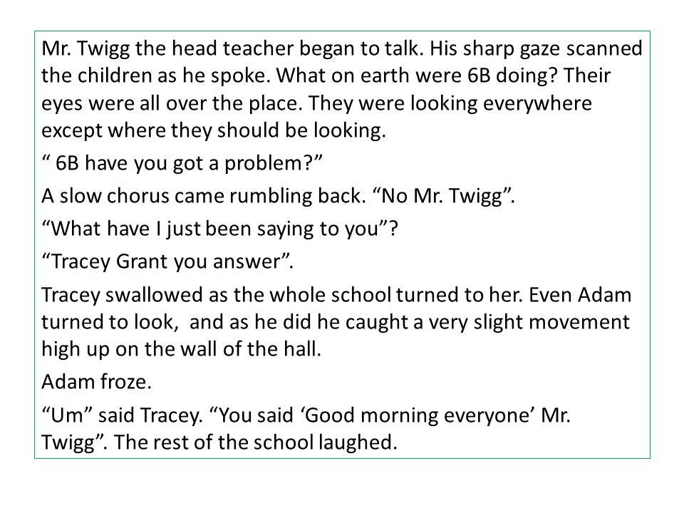 Mr. Twigg the head teacher began to talk