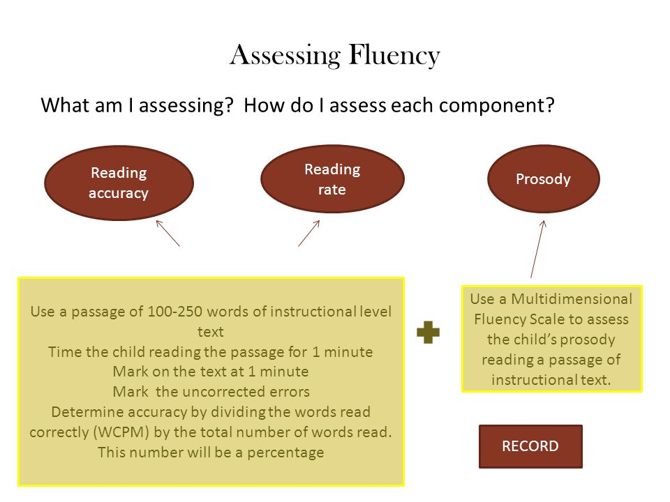 Assessing Fluency What am I assessing How do I assess each component