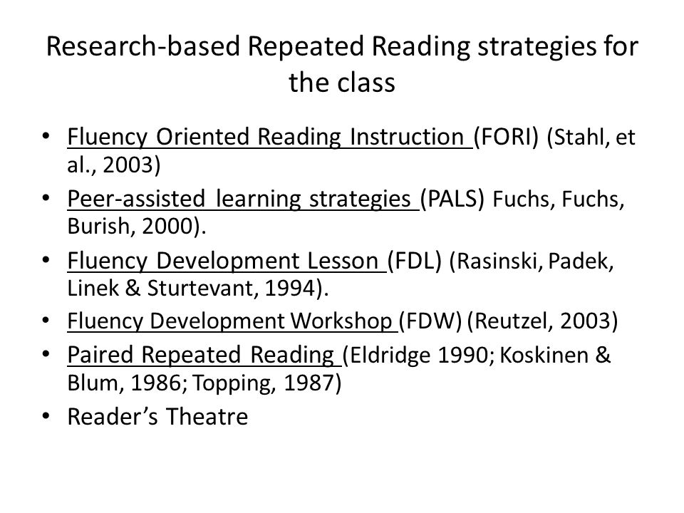 Research-based Repeated Reading strategies for the class