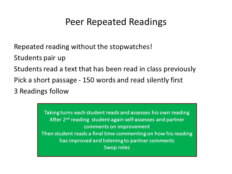 Peer Repeated Readings