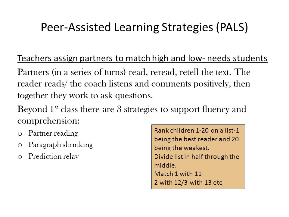 Peer-Assisted Learning Strategies (PALS)