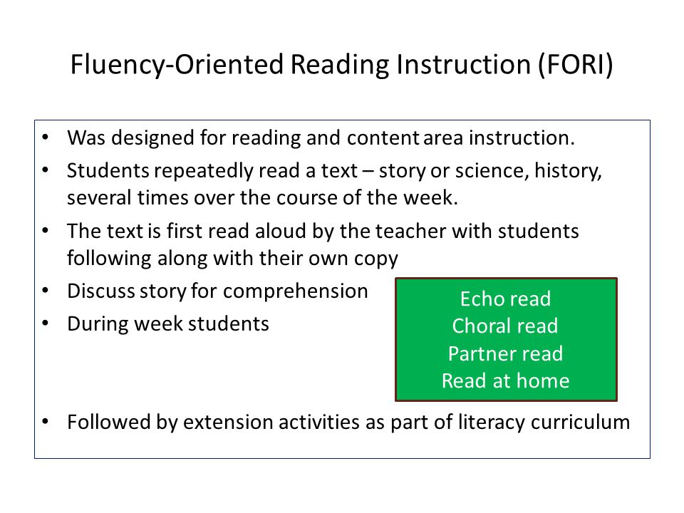 Fluency-Oriented Reading Instruction (FORI)