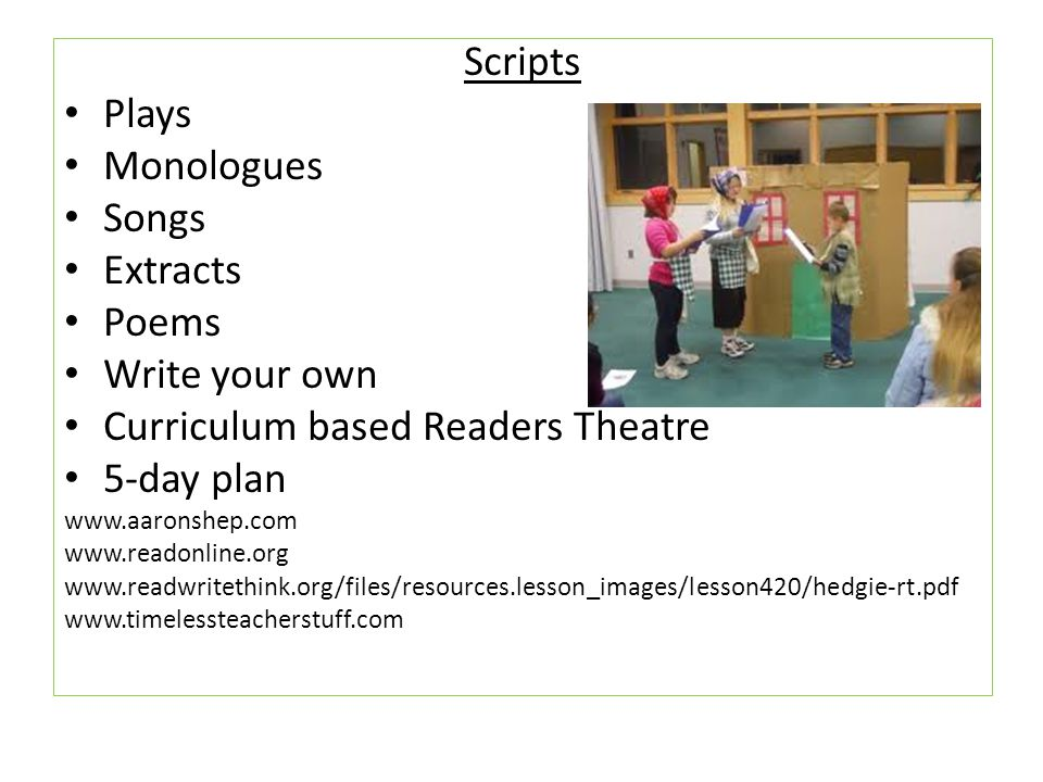 Curriculum based Readers Theatre 5-day plan