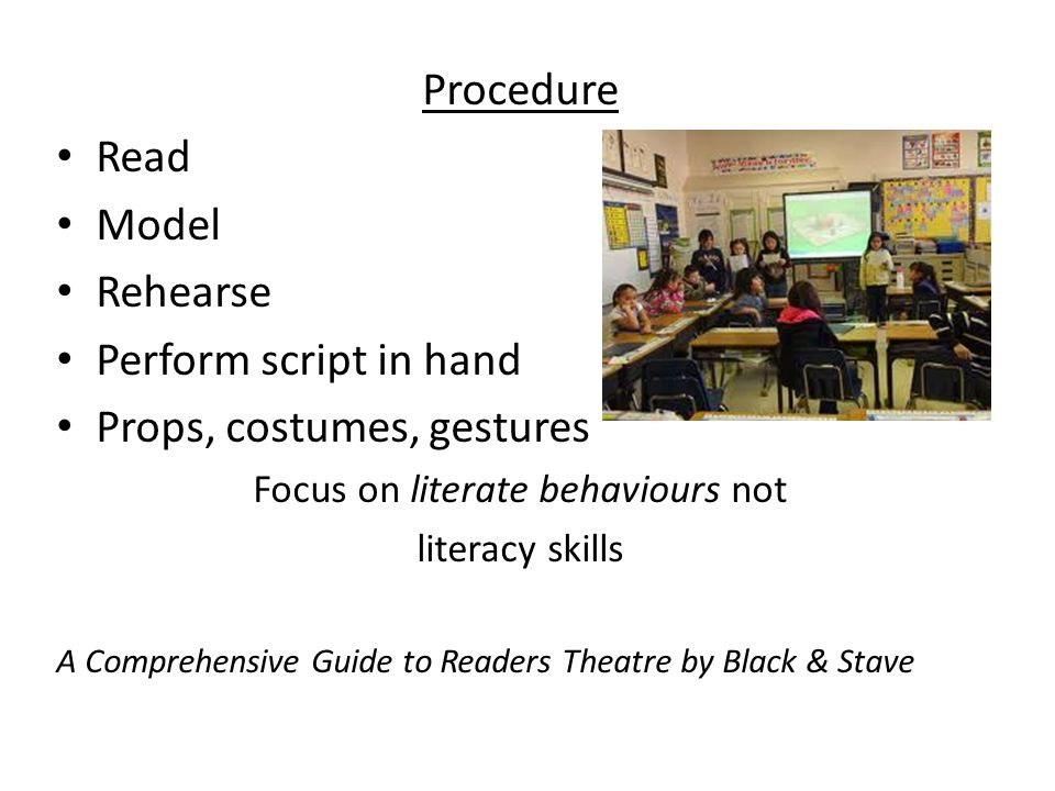 Focus on literate behaviours not
