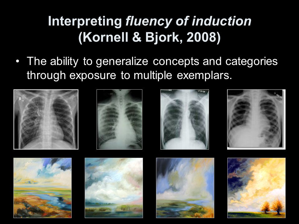 Interpreting fluency of induction (Kornell & Bjork, 2008)