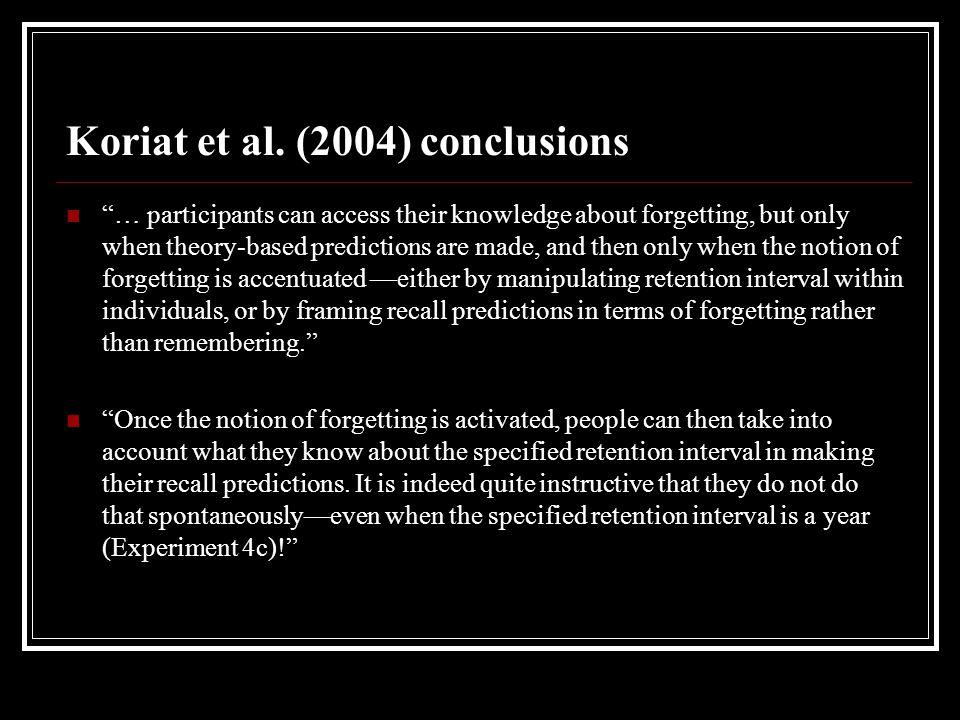 Koriat et al. (2004) conclusions