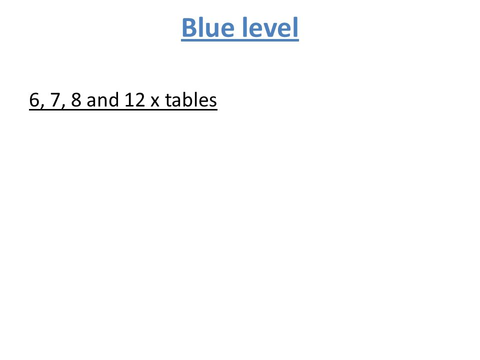 Blue level 6, 7, 8 and 12 x tables