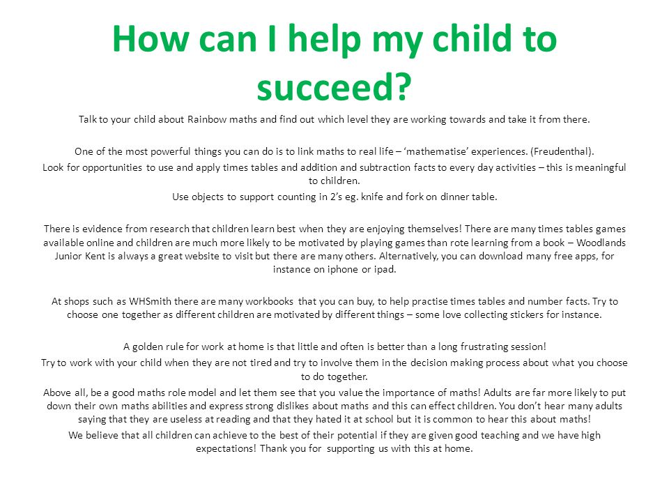 How can I help my child to succeed