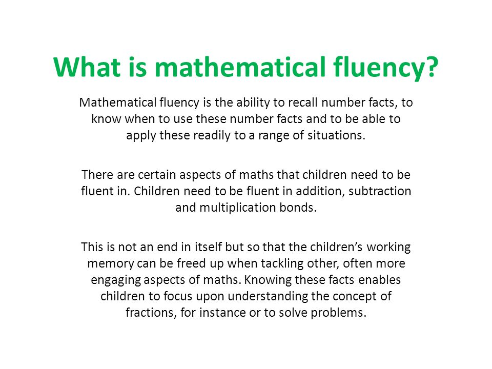 What is mathematical fluency