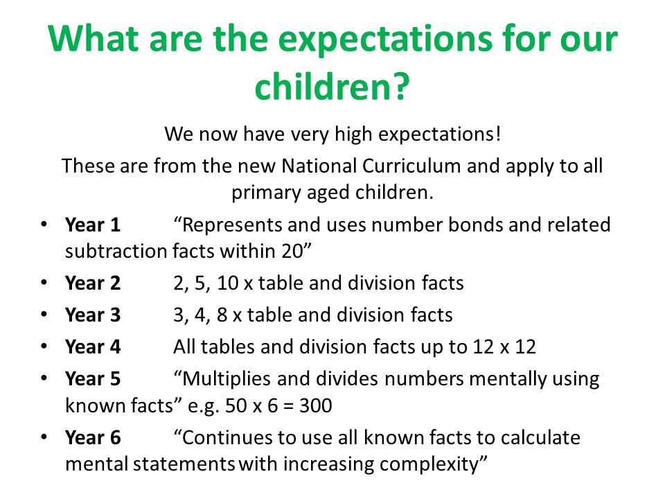What are the expectations for our children